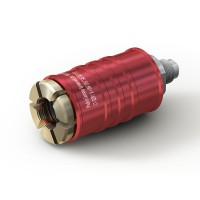 "WEH® Connector TW111 for filling refrigerants on 'Schrader valves'  5/16"" SAE, red (high pressure), EPDM seal, max. 42 bar, inline media inlet UNF 7/16""-20 external thread"