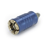 "WEH® Connector TW108 for filling refrigerants during maintenance of automotive air conditioning equipment acc. to SAE J639,  Ø 11, blue (low pressure),  max. 35 bar, inline media inlet, UNF 5/8""-18  external thread (SAE J513 - 45°)"